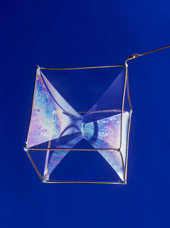 Bubble Poster featuring the photograph Soap Films On A Cube by Andrew Lambert Photography