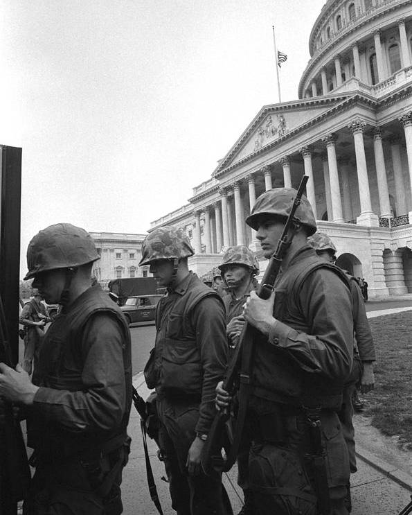 History Poster featuring the photograph Soldiers Stand Guard Near Us Capitol by Everett