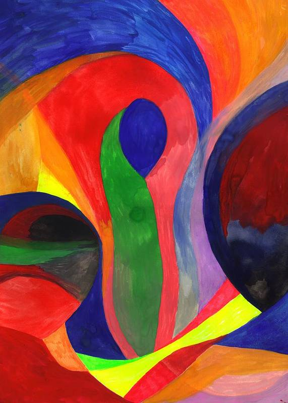 Colorful Poster featuring the painting Solitude in the Crowd by Peter Shor