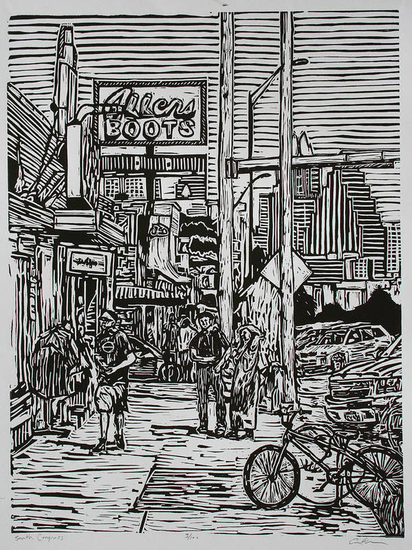 Austin Poster featuring the drawing South Congress by William Cauthern