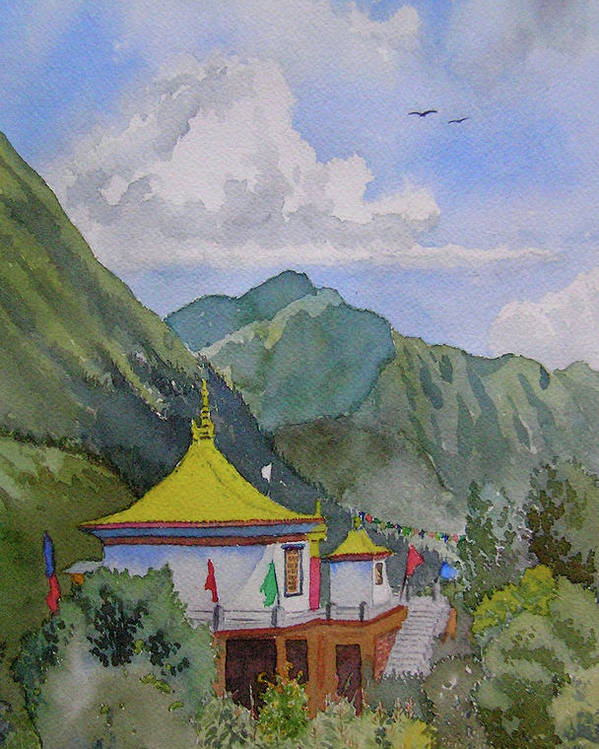 Buddhist Temple Poster featuring the painting South From My Window by Mayank M M Reid