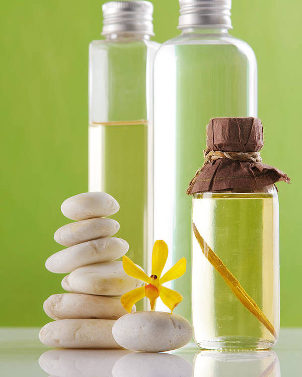 Spa-treatment Poster featuring the photograph Spa Oil Bottles by Atiketta Sangasaeng