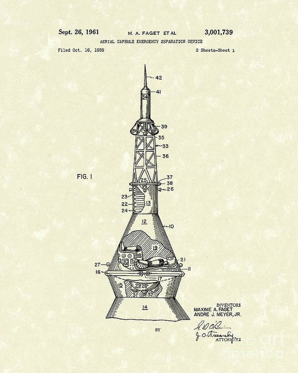 Faget Poster featuring the drawing Space Capsule 1961 Patent Art #1 by Prior Art Design