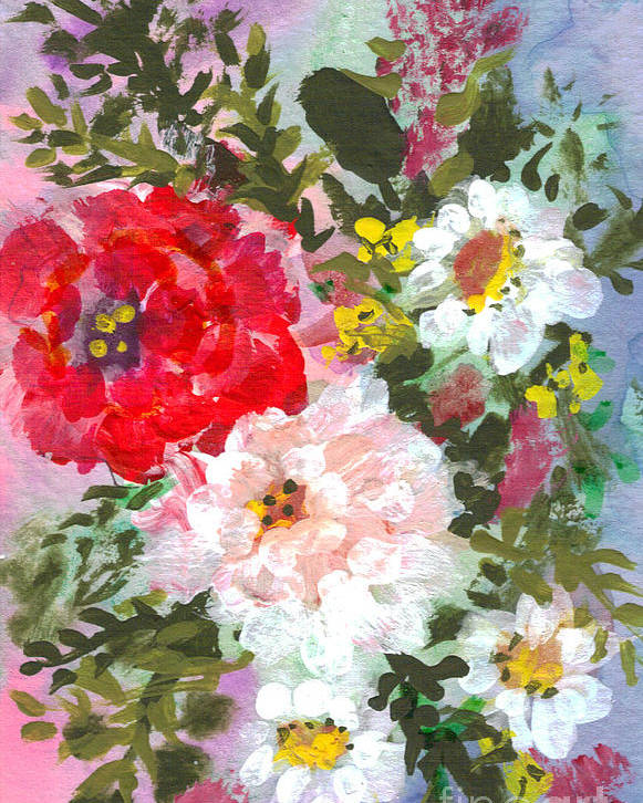 Splashy Poster featuring the painting Splashy Flowers by Debbie Wassmann
