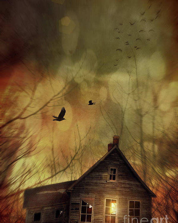 Abandoned Poster featuring the photograph Spooky House At Sunset by Sandra Cunningham