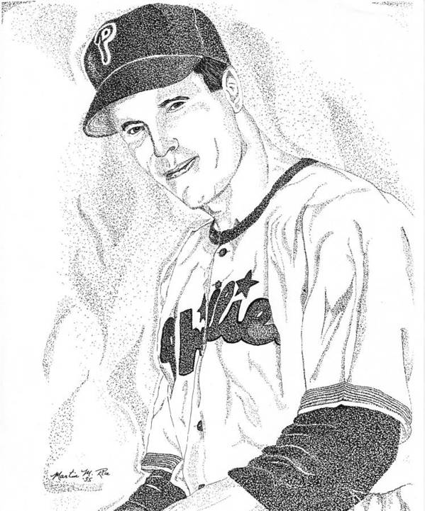 This Image Of Richie Asburn Of The Philadelphia Phillies Took Over 7 Hours To Complete And Has Over 70 Poster featuring the drawing Sports Portrait by Marty Rice