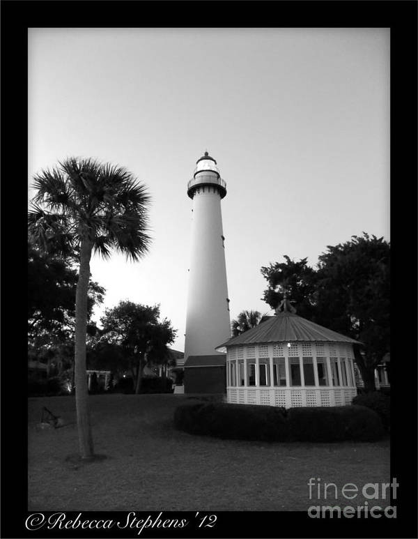 Hot Poster featuring the photograph St. Simon's Lighthouse Noir by Rebecca Stephens