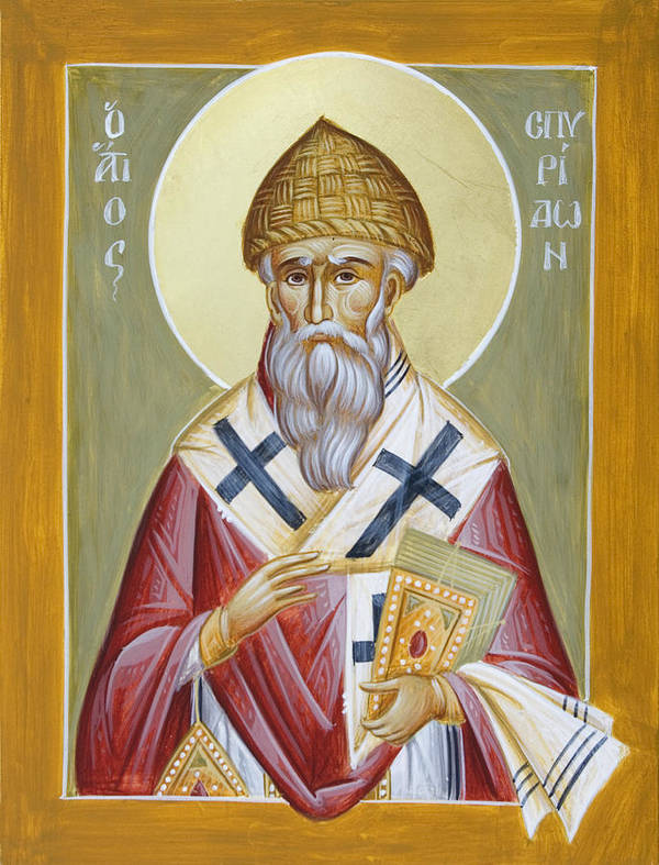 St Spyridon Poster featuring the painting St Spyridon by Julia Bridget Hayes