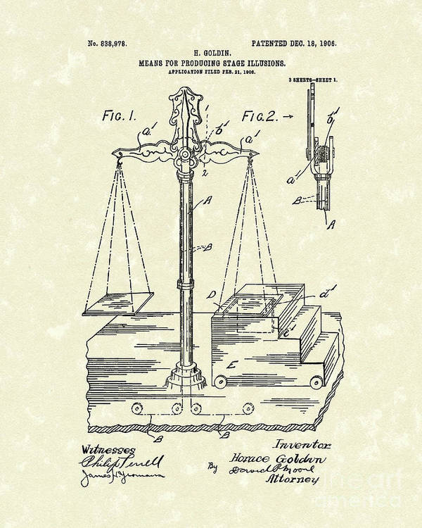 Goldin Poster featuring the drawing Stage Illusions 1906 Patent Art by Prior Art Design