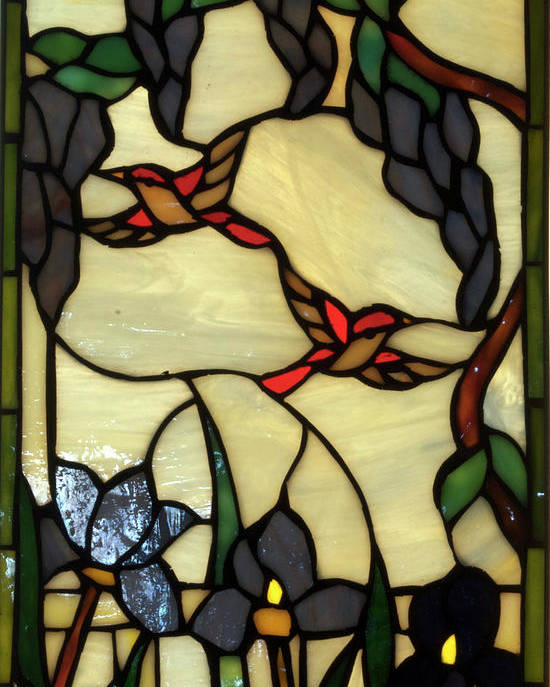 Glass Art Poster featuring the photograph Stained Glass Humming Bird Vertical Window by Thomas Woolworth