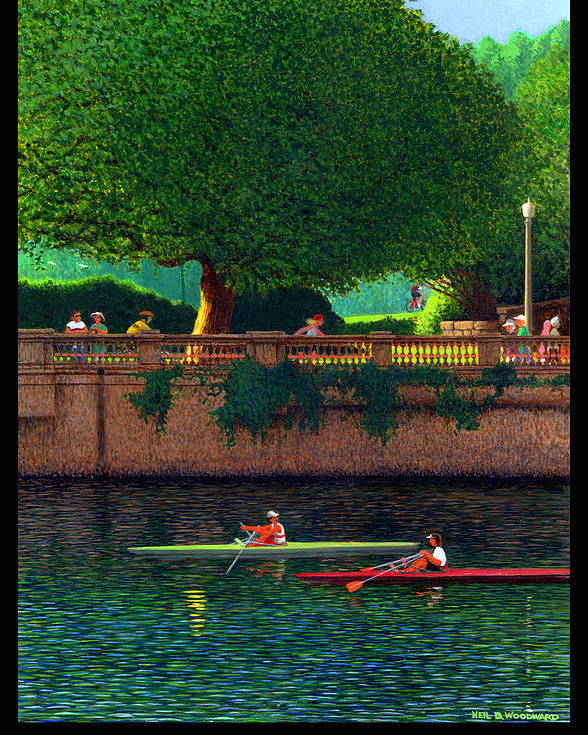 Sculling Poster featuring the digital art Stanley Park Scullers Poster by Neil Woodward
