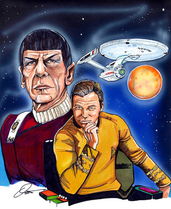 Captain Kirk Poster featuring the drawing Star Trek by Dave Olsen