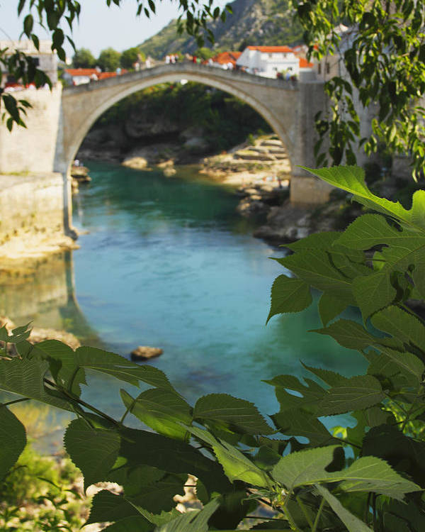 Blue Sky Poster featuring the photograph Stari Most Or Old Town Bridge Over The by Trish Punch