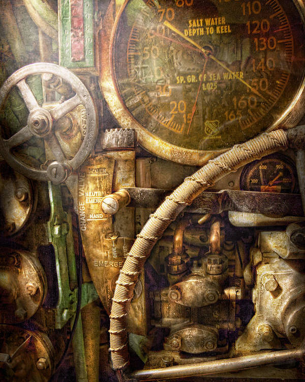 Steampunk Poster featuring the photograph Steampunk - Naval - Watch The Depth by Mike Savad