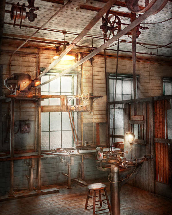 Steampunk Poster featuring the photograph Steampunk - Machinist - The Grinding Station by Mike Savad