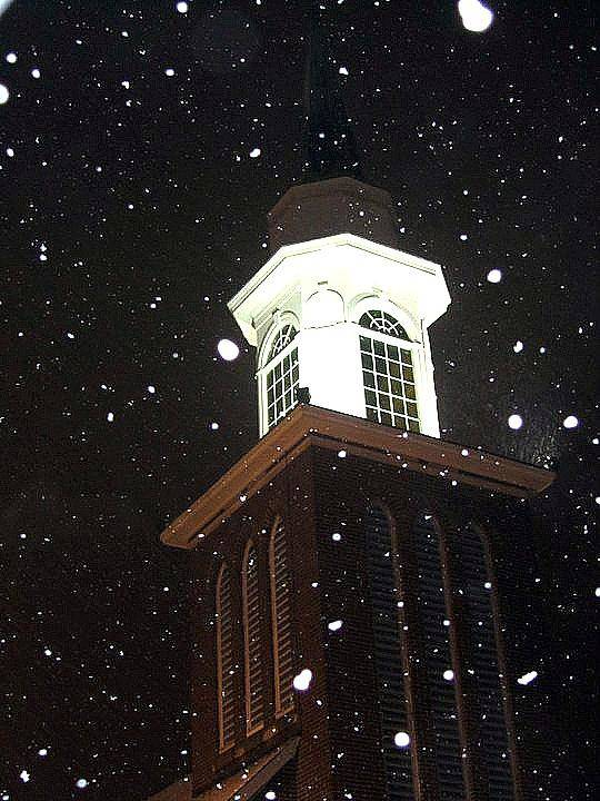 This Is A Picture Taken Of A Steeple Of A Church During A Night Time Snowfall.  Poster featuring the photograph Steeple In The Snow by Vickie Beasley