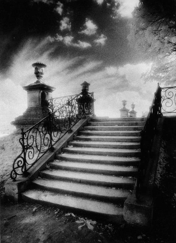 French Architecture; Outdoors; Staircase; Balustrade Poster featuring the photograph Steps At Chateau Vieux by Simon Marsden