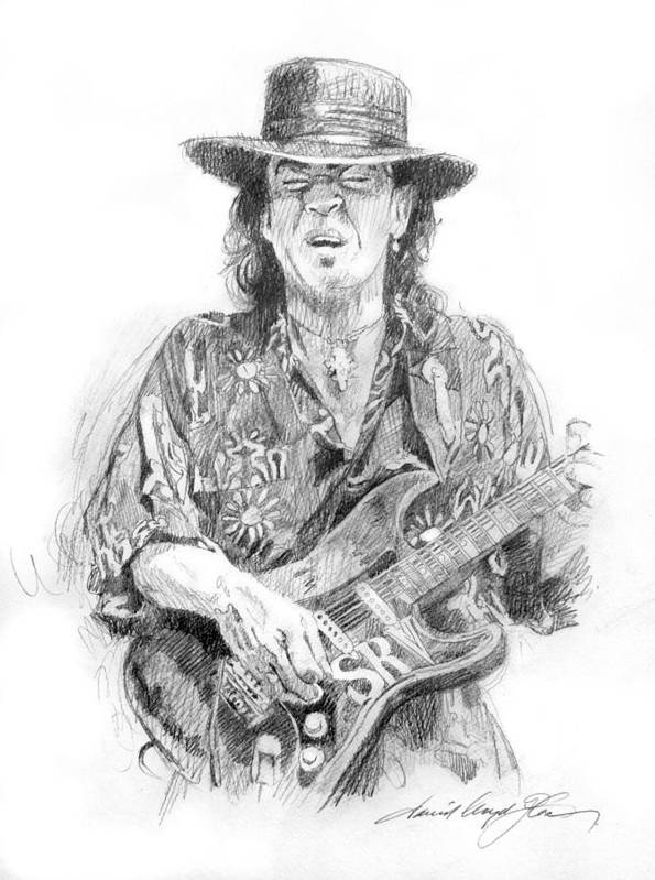 Stevie Ray Vaughan Poster featuring the painting Stevie's Blues by David Lloyd Glover