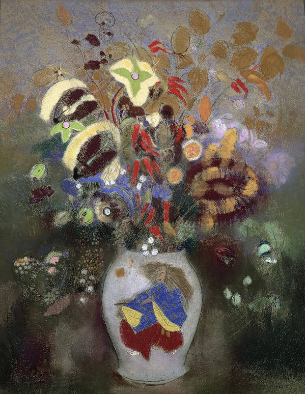 Oriental; Symbolist; Vase Au Guerrier Japonais Poster featuring the painting Still Life Of A Vase Of Flowers by Odilon Redon