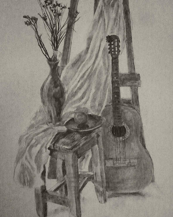 Still Poster featuring the drawing Still Life With A Guitar by Nadja Pilitsyna