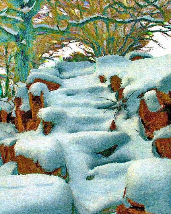 Stone Poster featuring the painting Stone Steps In Winter by Jeff Kolker