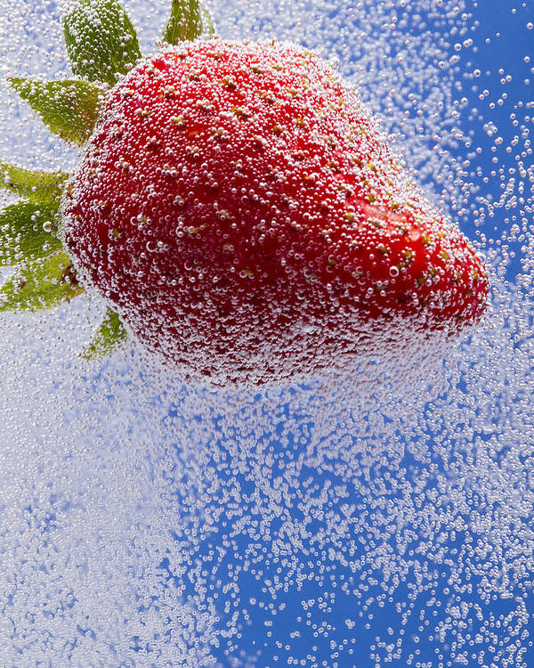 Red Poster featuring the photograph Strawberry Soda Dunk 2 by John Brueske