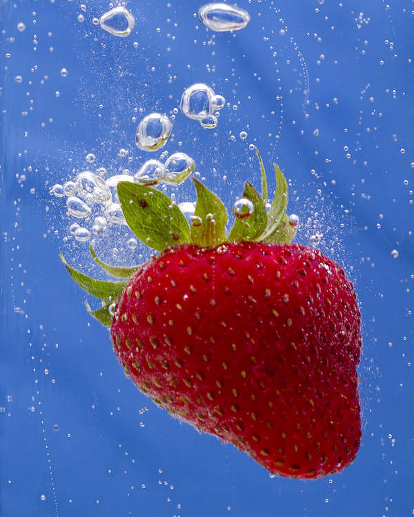 Red Poster featuring the photograph Strawberry Soda Dunk 3 by John Brueske