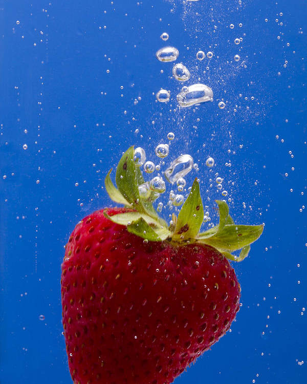 Red Poster featuring the photograph Strawberry Soda Dunk 5 by John Brueske