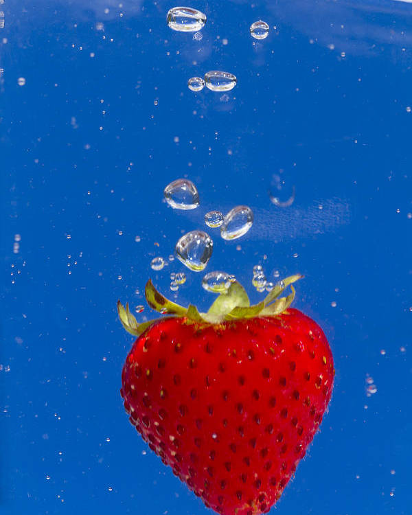 Red Poster featuring the photograph Strawberry Soda Dunk 6 by John Brueske