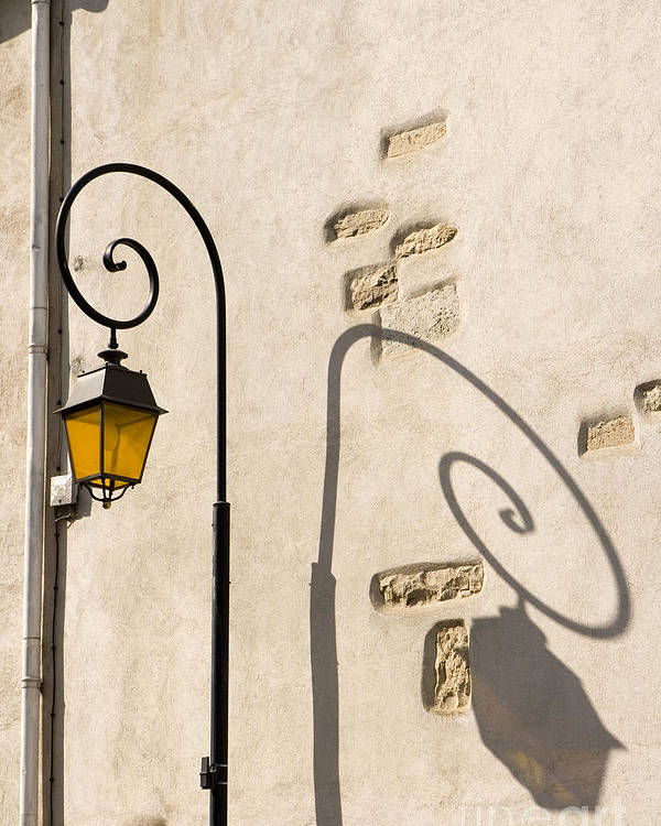 Aged Poster featuring the pyrography Street Lamp And Shadow by Igor Kislev