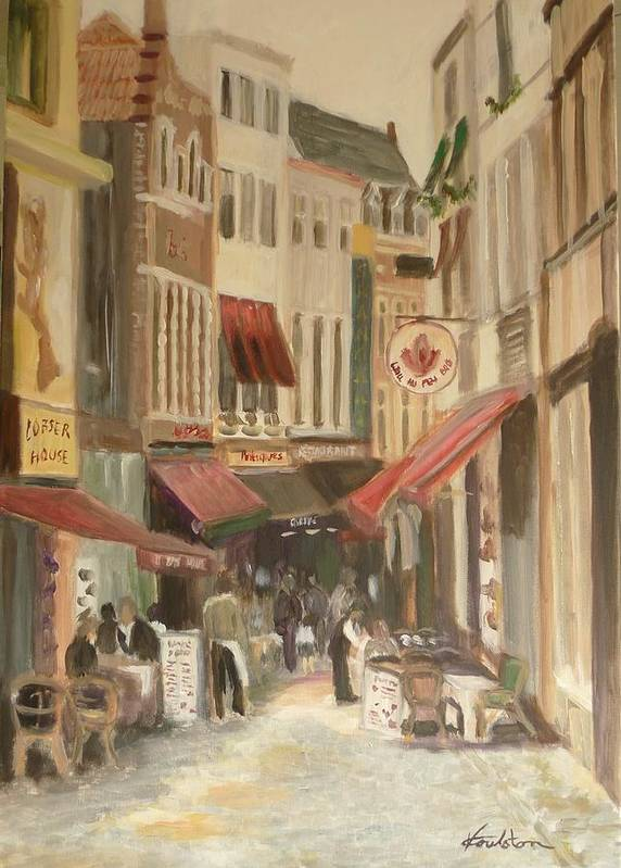Architecture Poster featuring the painting Street Scene In Brussels by Veronica Coulston