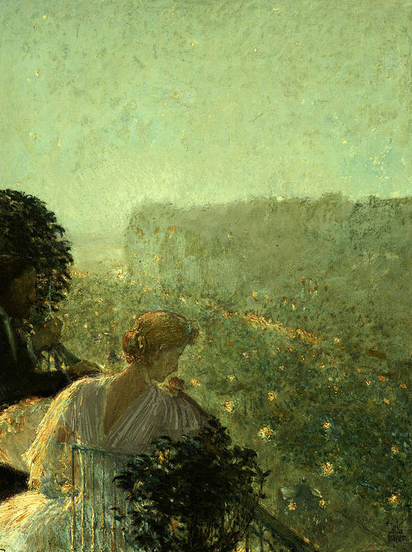 Summer Evening Poster featuring the painting Summer Evening In Paris by Childe Hassam