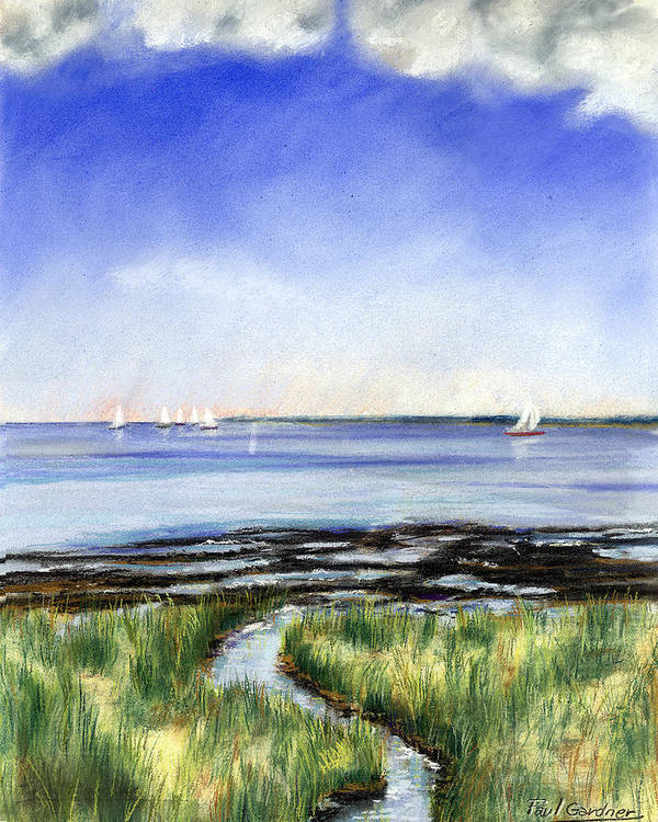 Marthas Vineyard Poster featuring the pastel Summer Flats by Paul Gardner