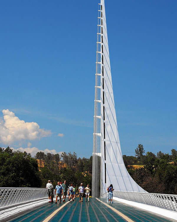 Sundial Bridge Poster featuring the photograph Sundial Bridge - This Bridge Is A Glass-and-steel Sculpture by Christine Till