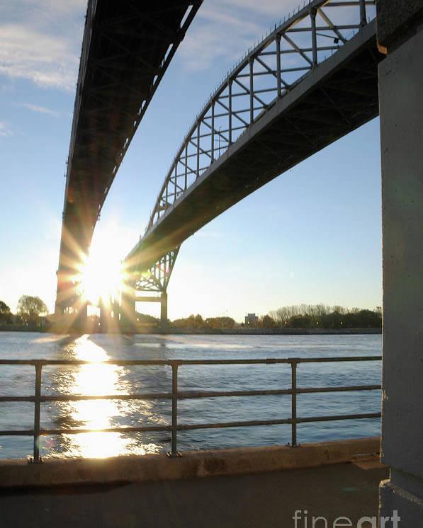 Sunrise Poster featuring the photograph Sunrise Blue Water Bridges by Ronald Grogan