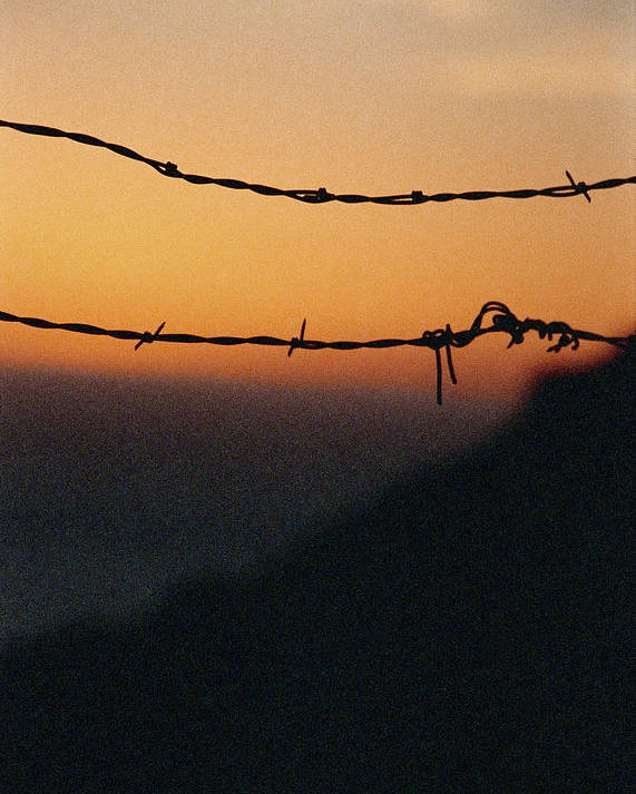 Sunset Poster featuring the photograph Sunset And Barbed Wire At Big Sur by Christina Weber