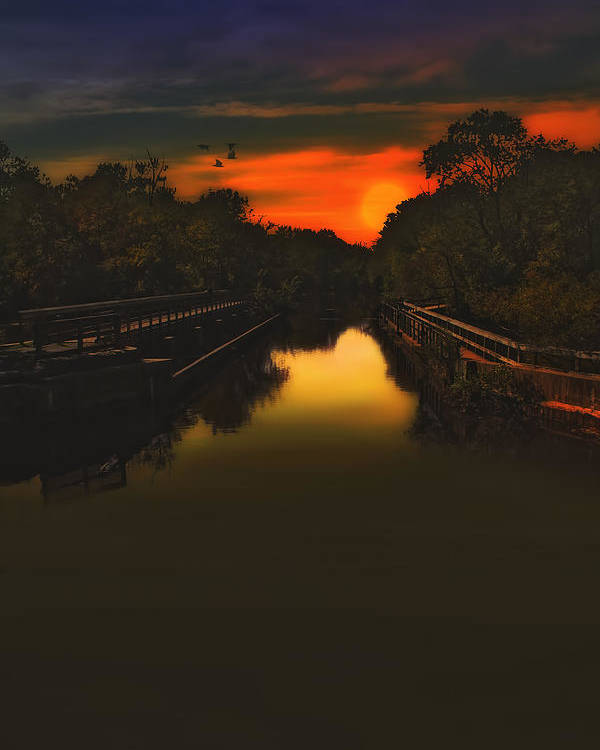 Sunset Photography Poster featuring the photograph Sunset At The Old Canal by Tom York Images
