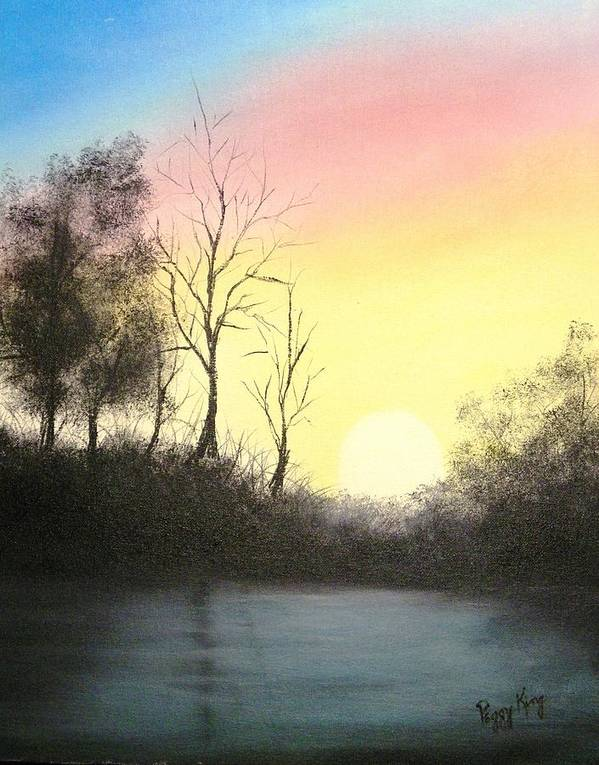 Silhouette Poster featuring the painting Sunset Silhouettes by Peggy King