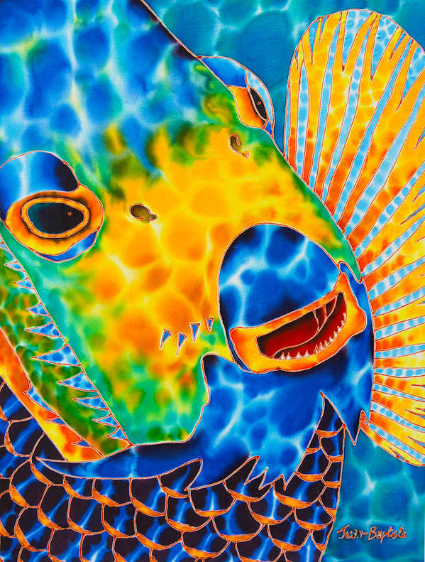 Angelfish Painting Poster featuring the painting Sunshine Angelfish by Daniel Jean-Baptiste