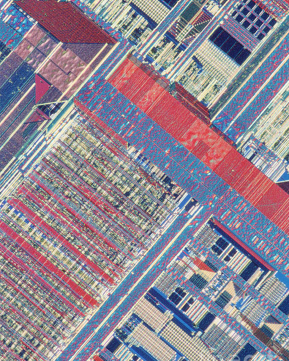 Microprocessor Poster featuring the photograph Surface Of Integrated Chip by Michael W. Davidson