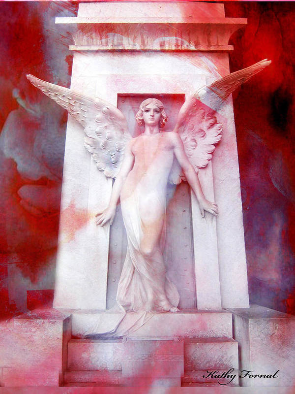 Dreamy Angel Art Wings Poster featuring the photograph Surreal Impressionistic Red White Angel Art by Kathy Fornal
