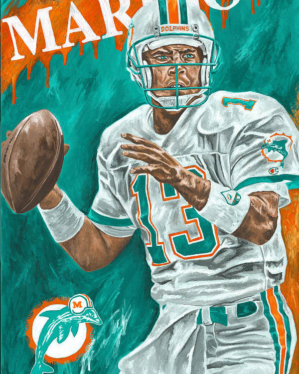 Dan Marino Miami Dolphins Football Quarterback Sports David Courson Poster featuring the painting Surveying The Field by David Courson