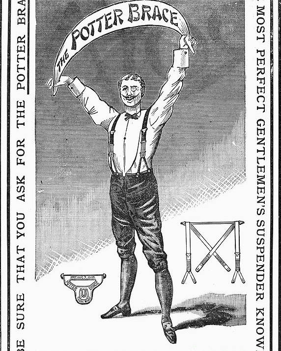 1888 Poster featuring the photograph Suspenders, 1888 by Granger