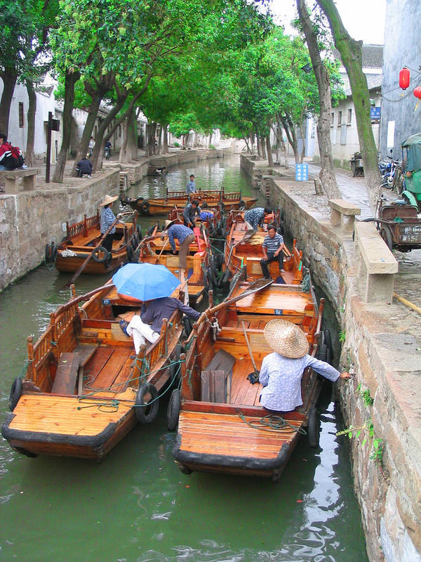 China Poster featuring the photograph Suzhou Canal Traffic Jam by Robert M Brown II