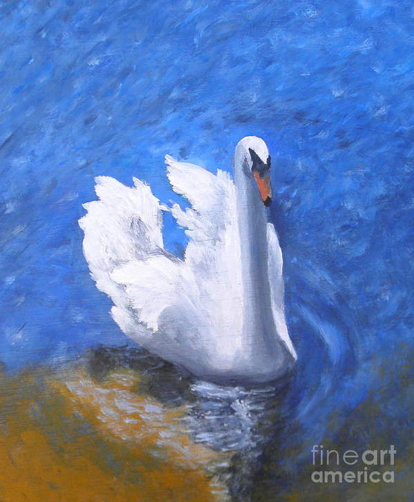 Swan Poster featuring the painting Swan Lake by Julie Sauer