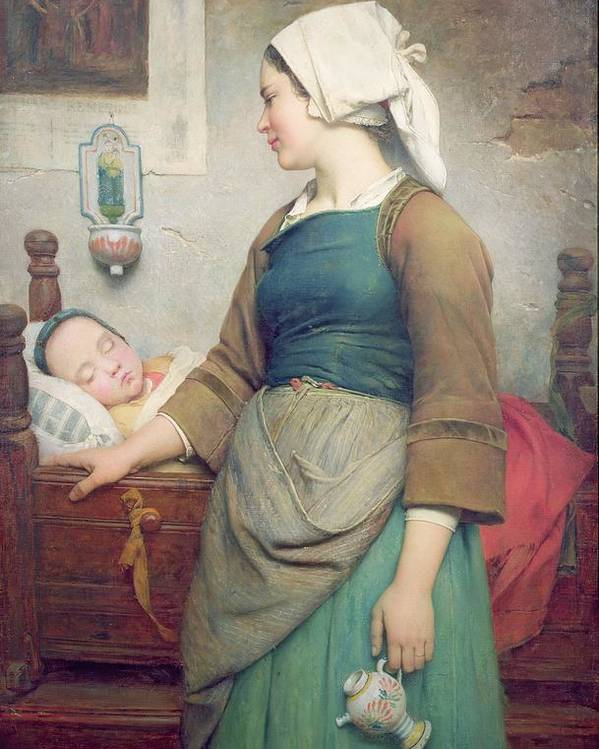 Asleep; Cot; Child; Female; Headdress; Mother; Apron; Sleeping Poster featuring the painting Sweet Slumber by Emile Auguste Hublin