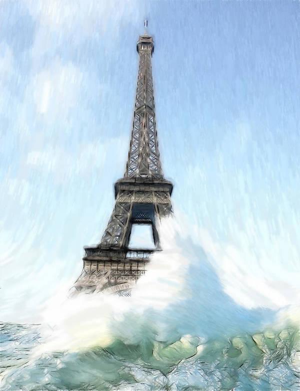Ark Noah Flood Water High Tide Eifelturm Eiffel Tower Tour France Paris Wave Waves Painting Apocalypse Deluge Sinnflut Storm Water Atlantic Sea Ocean Judgment Day Poster featuring the painting Swimming Pleasure In Paris by Steve K