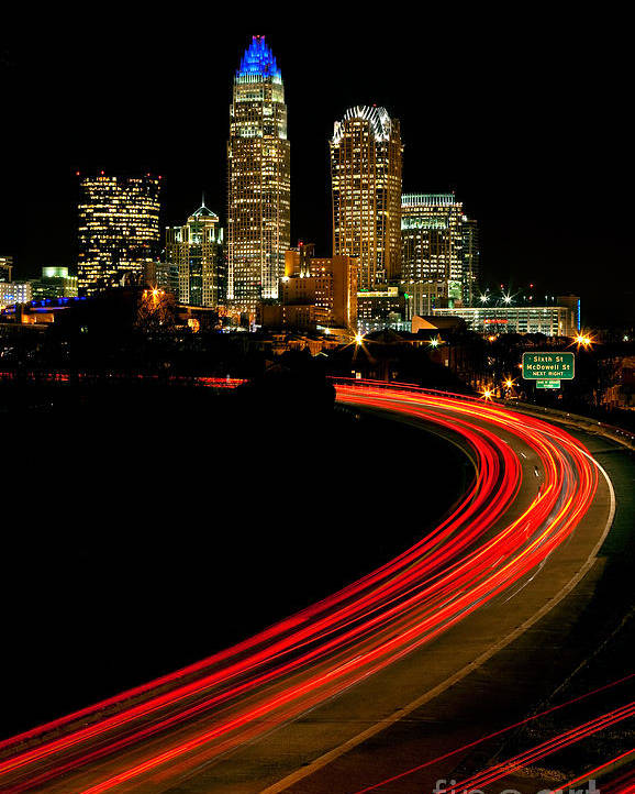 Charlotte Poster featuring the photograph Taillights Toward Charlotte Skyline by Patrick Schneider