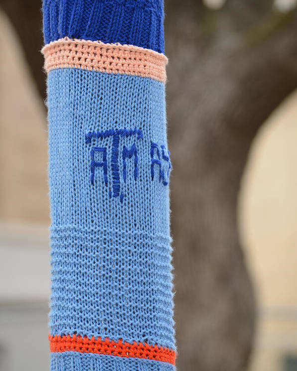 Tamu Poster featuring the photograph Tamu Astronomy Crocheted Lamppost by Nikki Marie Smith
