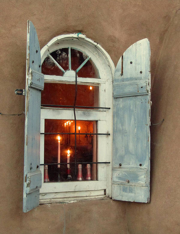 Taos Poster featuring the photograph Taos Window With Candlelight by Elizabeth Rose